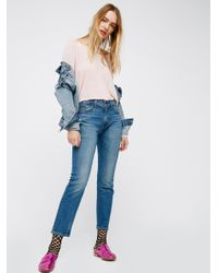 Free People   Blue Levi's 505c Cropped Jeans   Lyst