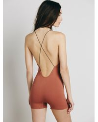 Free People | Blue Low Back Seamless Romper | Lyst