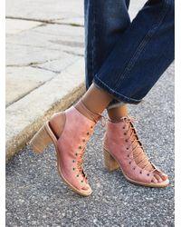 Free People | Pink Minimal Lace Up Heel | Lyst