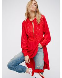 Free People | Red New Romantics Cocktail Tunic | Lyst