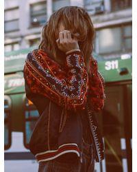 Free People | Black New Romantics Embellished Baseball Jacket | Lyst