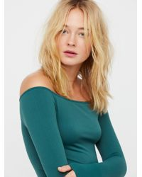 Free People | Green Off The Shoulder Solid Top | Lyst
