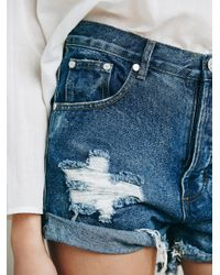 Free People - Blue Outlaw Boyfriend Short - Lyst