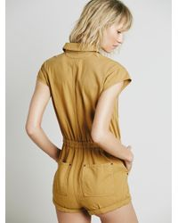 Free People | Orange Paracute Brief Romper | Lyst