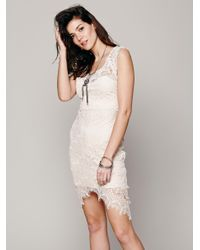 Free People | Natural Peekaboo Lace Slip | Lyst