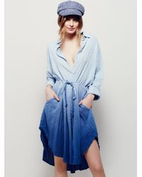 Free People - Blue Ray Of Light Extreme Buttondown - Lyst