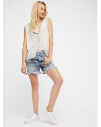 Free People | Blue Relaxed & Patched Denim Shorts | Lyst