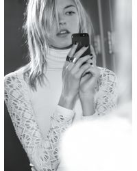 Free People | White Rib And Lace Turtleneck | Lyst