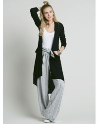 Free People | Black Ribbed Up Maxi Cardigan | Lyst