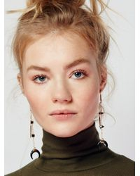 Free People | Black Sabina Horn Pendulum Earring | Lyst