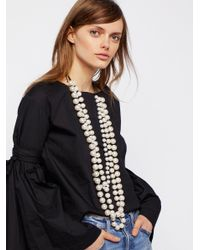 Free People | White Selene Statement Pearl Necklace | Lyst