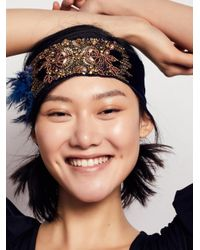 Free People | Blue Sequin Feather Headband | Lyst