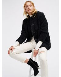 Free People   Black Sherpa And Knit Liner Coat   Lyst