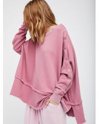 Free People | Pink Snap Up Shoulder Pullover | Lyst