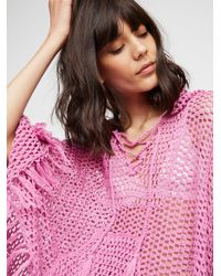 Free People - Pink Summer Breeze Hooded Poncho - Lyst
