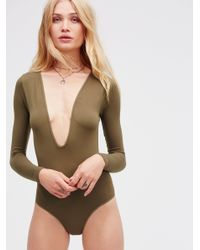 Free People | Multicolor Take The Plunge Bodysuit | Lyst