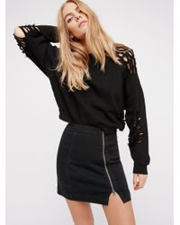 Free People | Black This Way Or That Mini Skirt | Lyst