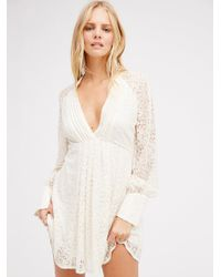 Free People | White Uptown Lace Mini Dress | Lyst