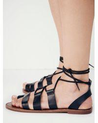 Free People | Black Vegan Maddie Tie Up Sandal | Lyst
