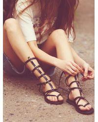 Free People | Black Vegan Noveau Mid Gladiator Sandals | Lyst