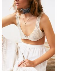 Free People - White Galloon Lace Truly Madly Deeply Halter Bra - Lyst