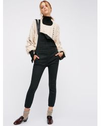 Free People | Black Washed Denim Overall | Lyst