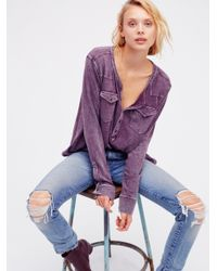Free People | Purple We The Free City Lights Henley | Lyst