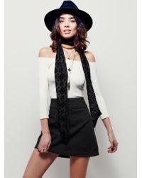 Free People | Black Zip To It Denim Mini Skirt | Lyst
