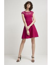 47799b10984 French Connection Rose Crepe Fit And Flare Dress in Pink - Lyst