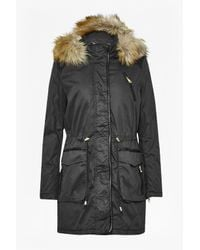 French Connection - Black Faux Leather Waxy Cotton Parka - Lyst