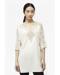 French Connection - Natural Isla Embroidered Tunic - Lyst