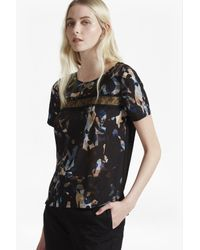 French Connection | Black Cornucopia Polly Lace T-shirt | Lyst