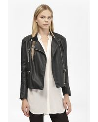 French Connection   Black Decade Faux Leather Biker Jacket   Lyst