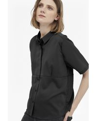 French Connection - Black Polly Plains Collared Top - Lyst