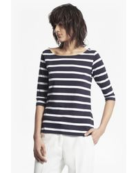 French Connection | Blue Tim Tim Stripe 3/4 Length Sleeve Top | Lyst