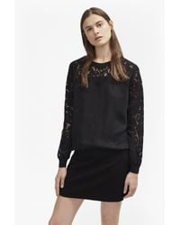 French Connection | Black Aries Cupro Lace Sleeved Sweatshirt | Lyst