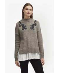 French Connection | Gray Alice Nep Knit Lace Jumper | Lyst