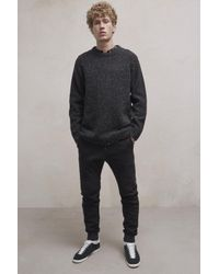 French Connection - Black Oversized Donegal Crew Neck Jumper for Men - Lyst