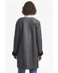 French Connection - Black Zelda Shearling Zip Reversible Coat - Lyst