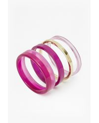 French Connection | Pink Colour Block Bangle Set | Lyst