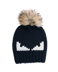 5787e66d32e3 Lyst - Fendi Wool Beanie Hat Monster Eyes in Black for Men