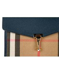 Burberry - Blue Leather Cross-body Messenger Shoulder Bag Small House Check - Lyst