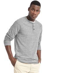 Gap | Gray Slub Jersey Long Sleeve Henley for Men | Lyst