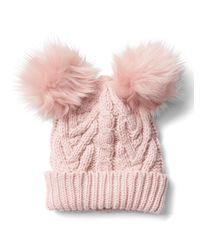 Gap | Pink Cable Knit Pom-pom Beanie | Lyst