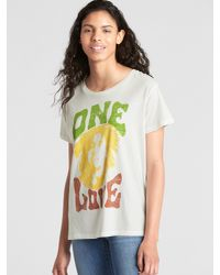 Gap - Yellow Short Sleeve Band Graphic Crewneck T-shirt - Lyst