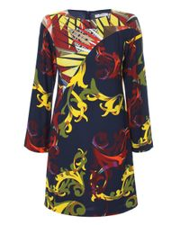 Versace | Blue Regal Baroque Print Long Sleeved Tunic Dress Navy/multi | Lyst