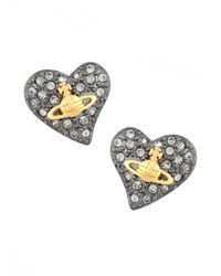 Vivienne Westwood   Metallic Tiny Diamante Heart Stud Earrings Gunmetal/gold   Lyst