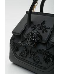 Versace - Black Palazzo Empire Medium Crystal Embellished Leather Satchel - Lyst