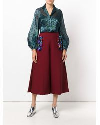 Delpozo - Red Embellished Culottes - Lyst
