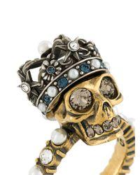 Alexander McQueen - Metallic King Skull Crystal-detail Ring - Lyst
